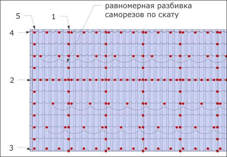 схема расположения саморезов на листе металлочерепицы